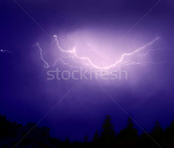 Foudre Thunder photo lumineuses sombre ciel bleu Photo stock © Anna_Om