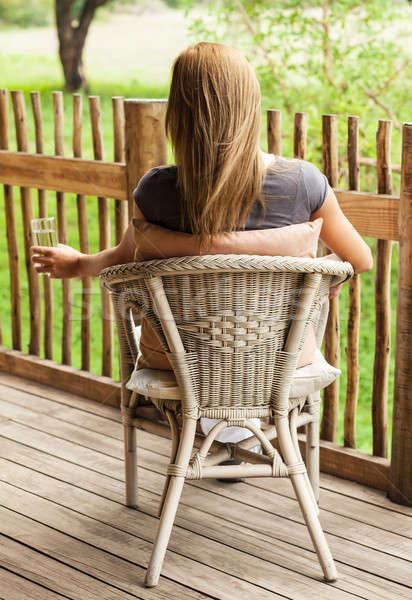 Hátsó nézet lány ül fotó gyönyörű lány élvezi Stock fotó © Anna_Om