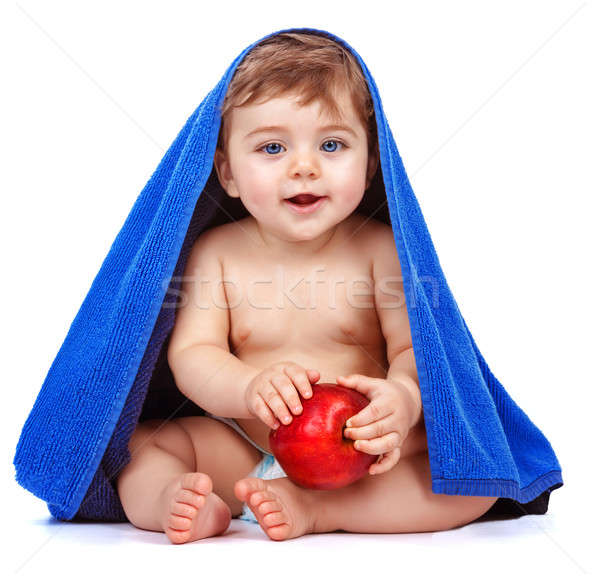 Cute baby boy eating apple Stock photo © Anna_Om