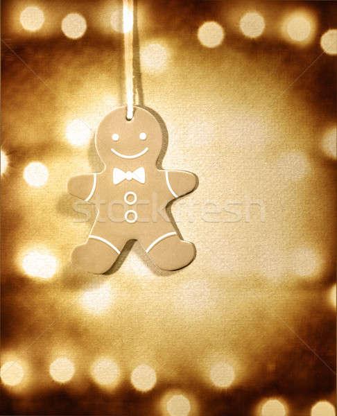 Foto stock: Gingerbread · man · natal · decoração · enforcamento · marrom