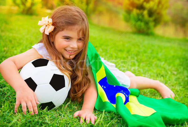Young cheerful football fan Stock photo © Anna_Om