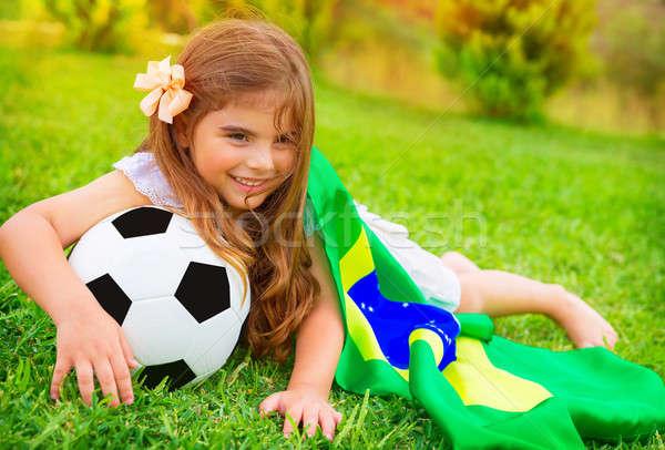 Fiatal derűs futball ventillátor fekszik friss Stock fotó © Anna_Om