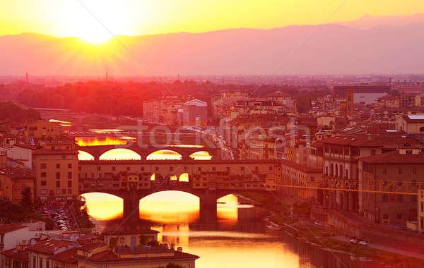 Ancient Italian bridge in sunset light Stock photo © Anna_Om
