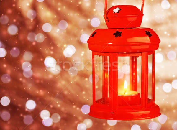 Red antique Christmas lamp Stock photo © Anna_Om