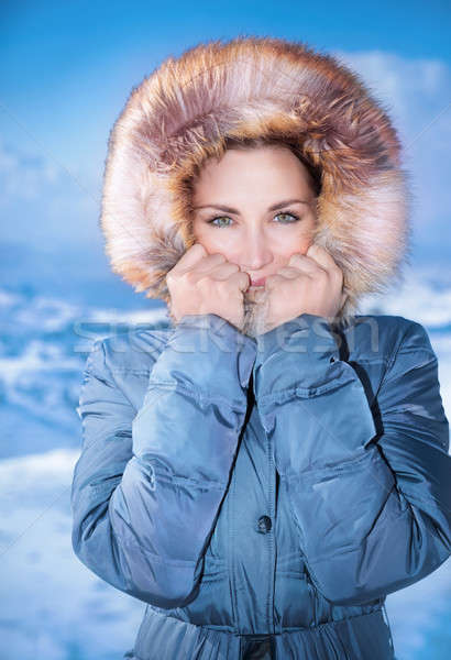 Cute female outdoors in winter Stock photo © Anna_Om