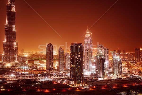 Dubai City Night mooie panoramisch centrum Stockfoto © Anna_Om
