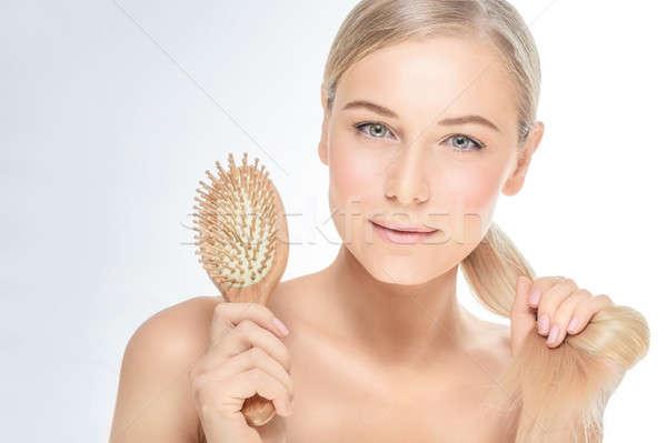 Vrouw mooie gezonde haren portret blond Stockfoto © Anna_Om
