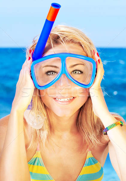 Funny girl portrait wearing mask Stock photo © Anna_Om