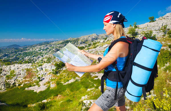 Cute girl in mountains looking to map Stock photo © Anna_Om