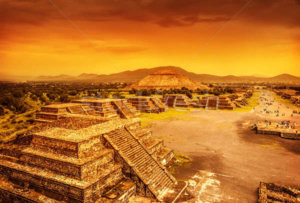 Pyramids of Mexico over sunset Stock photo © Anna_Om