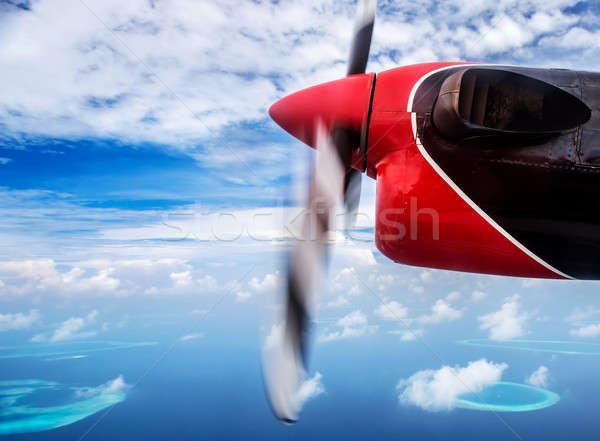 Verão pequeno avião voador praia Foto stock © Anna_Om