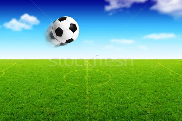 Illustration of football ball in motion Stock photo © Anna_Om