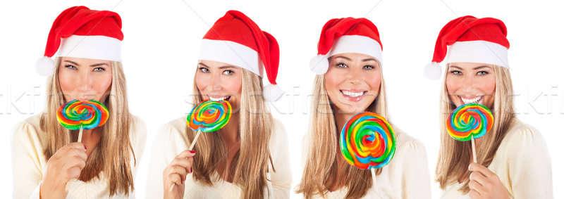 かわいい サンタクロース 少女 ロリポップ ビッグ カラフル ストックフォト © Anna_Om