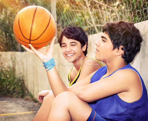 Happy basketball players Stock photo © Anna_Om