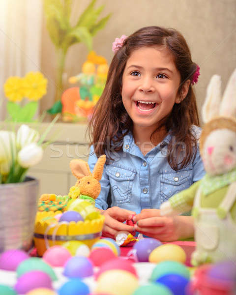 Cute girl in Easter holiday Stock photo © Anna_Om