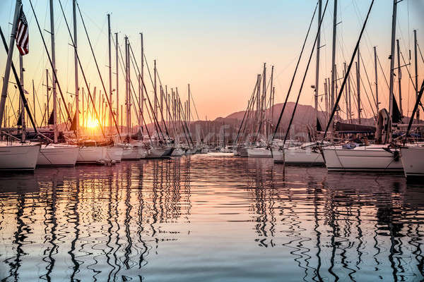 Beautiful sailboats in the dock Stock photo © Anna_Om