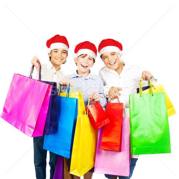 Happy Santa boys with gifts Stock photo © Anna_Om
