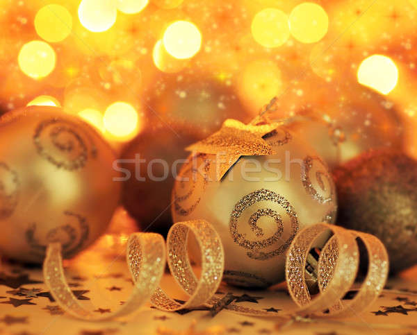 Christmas tree bauble ornament and star decoration Stock photo © Anna_Om