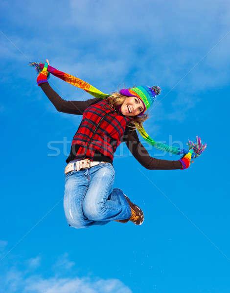 Happy girl jumping Stock photo © Anna_Om