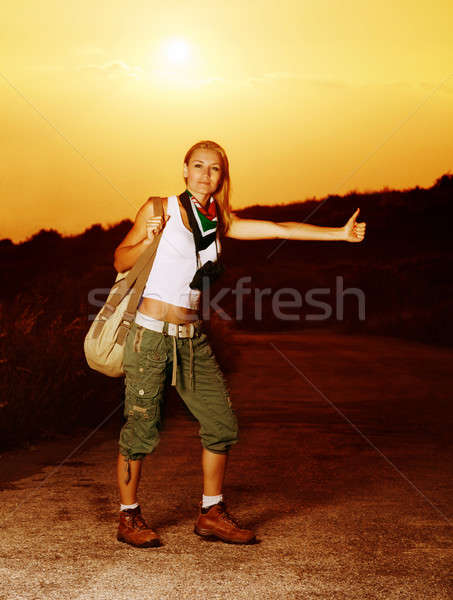 Woman traveling hitchhike Stock photo © Anna_Om