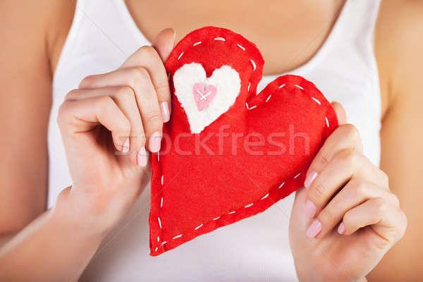 Piros szív kezek kép nagy női Stock fotó © Anna_Om