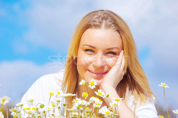 Sweet girl on floral glade Stock photo © Anna_Om