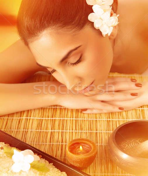 Woman sleeping on massage table Stock photo © Anna_Om