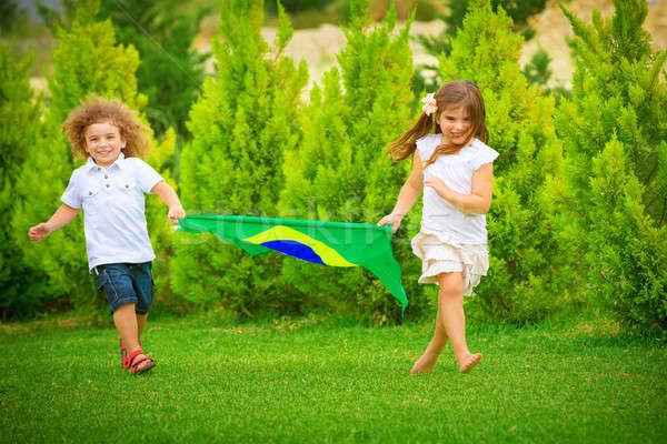 Szczęśliwy dziecko piłka nożna mistrzostwo brat Zdjęcia stock © Anna_Om