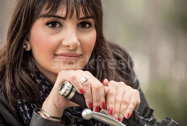 Attractive woman on motorcycle Stock photo © Anna_Om