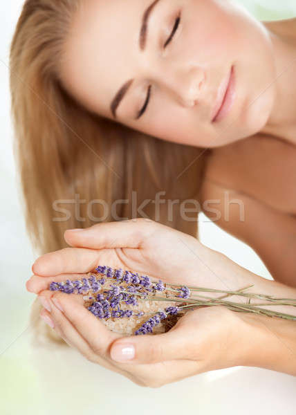 Cute female in a beauty salon Stock photo © Anna_Om