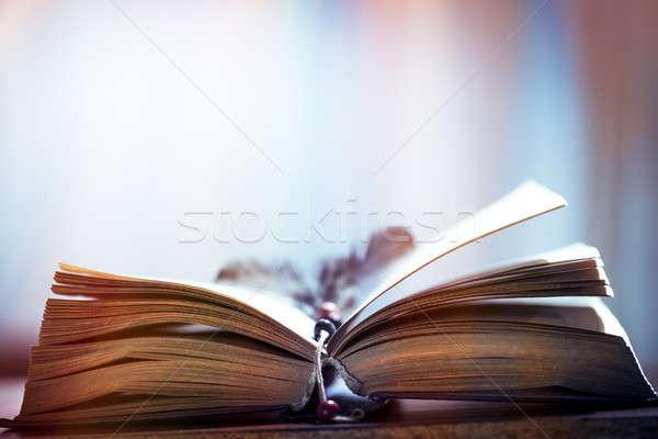 Starej książki Fotografia starych otwarta księga starożytnych Zdjęcia stock © Anna_Om