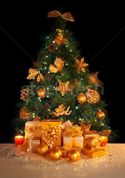 Gifts under Christmas tree Stock photo © Anna_Om