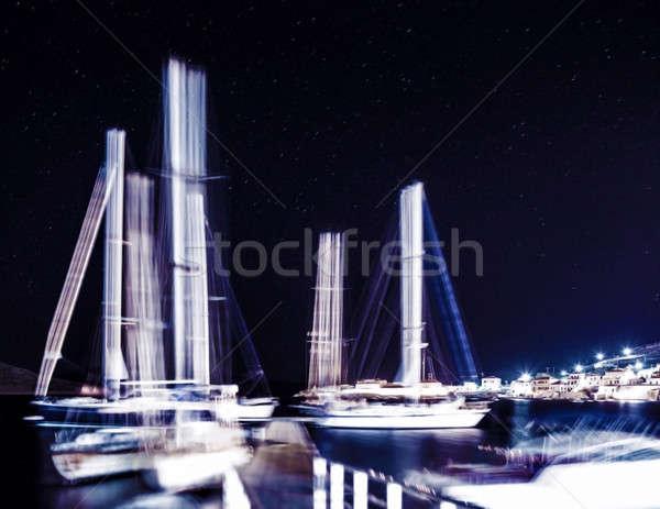 Sail boat in starry night Stock photo © Anna_Om