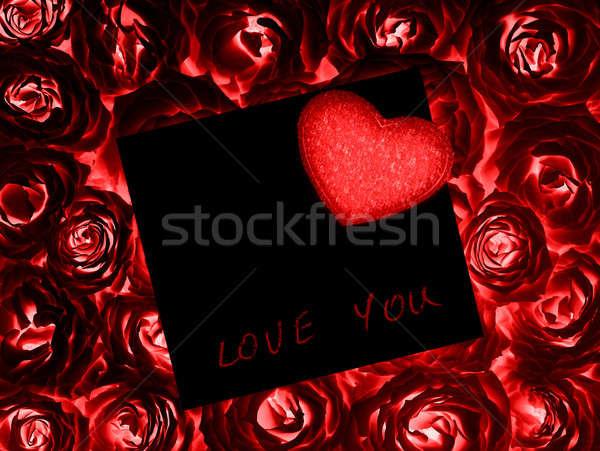 Piękna róż gift card serca red roses czarny Zdjęcia stock © Anna_Om