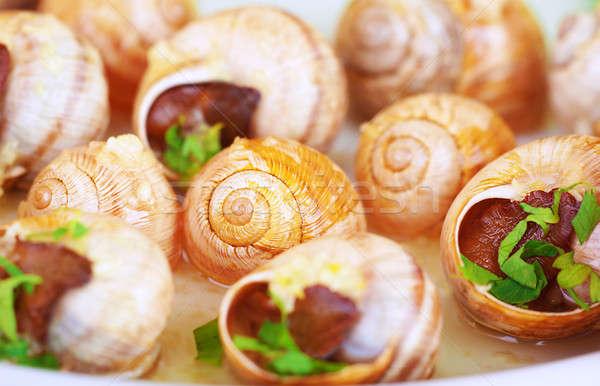 Tasty escargot background Stock photo © Anna_Om