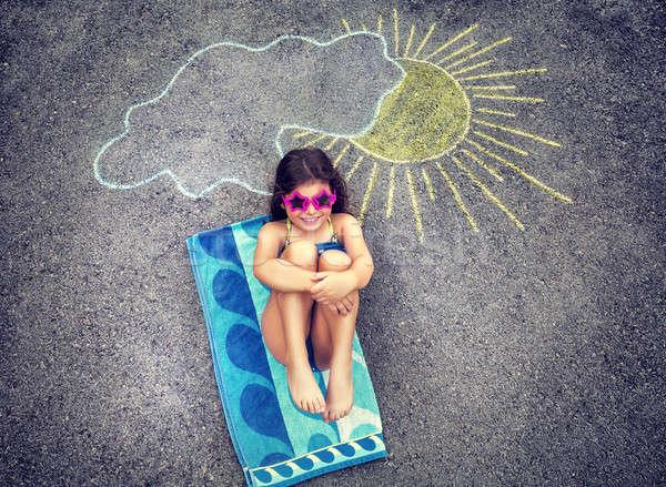 Nina relajante asfalto cute creativa dibujo Foto stock © Anna_Om