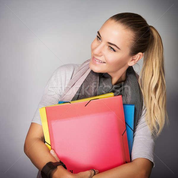 Stockfoto: Student · meisje · portret · mooie · permanente · studio