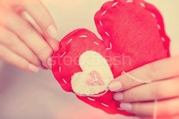 Sewn red heart toy Stock photo © Anna_Om