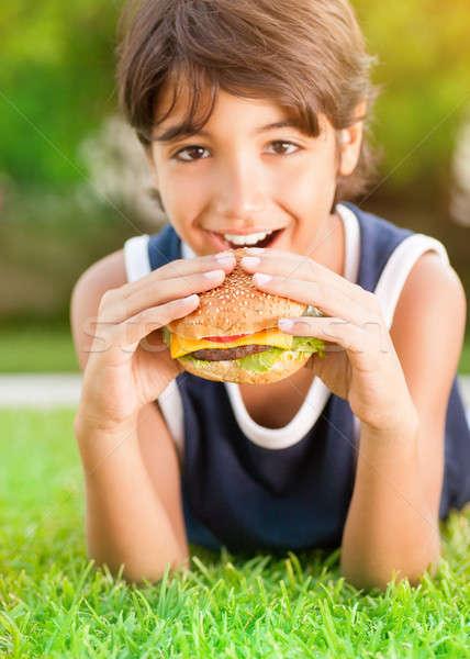 Yeme Burger portre sevimli mutlu Stok fotoğraf © Anna_Om