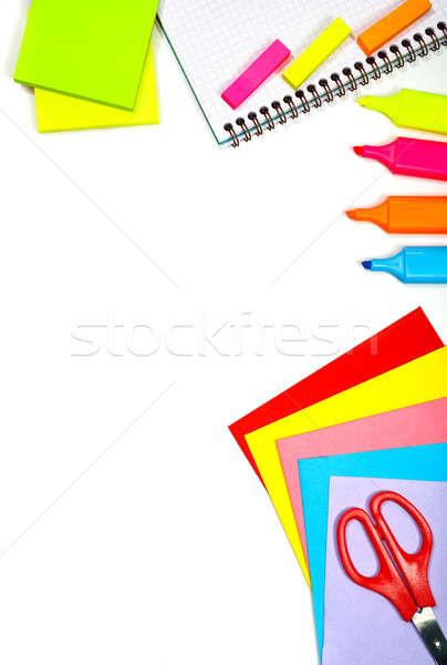 Stock photo: School stationery border