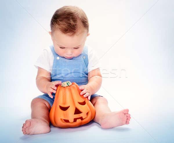 Cute baby chłopca mały posiedzenia Zdjęcia stock © Anna_Om