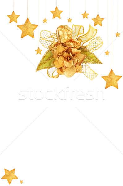 Złoty gwiazdki choinka ozdoby anioł wakacje Zdjęcia stock © Anna_Om