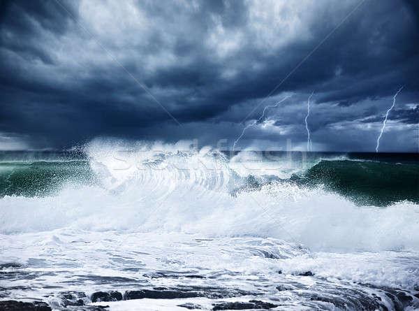 Sağanak yıldırım plaj karanlık bulutlu Stok fotoğraf © Anna_Om