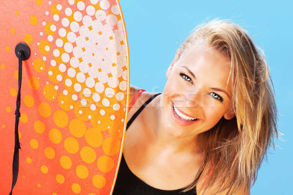 Happy surfer beautiful teen girl Stock photo © Anna_Om