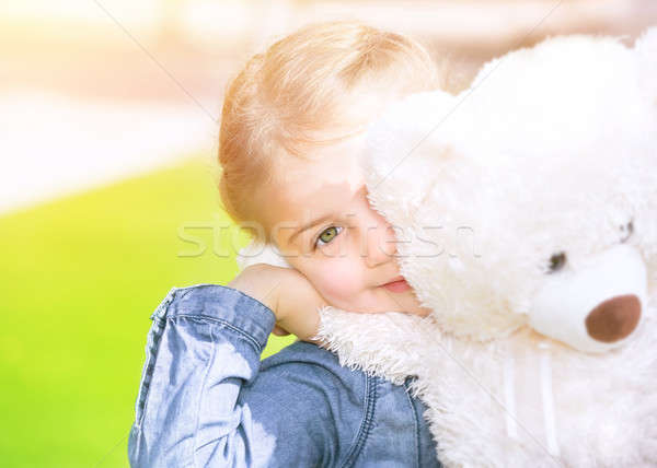 Happy girl with soft toy Stock photo © Anna_Om