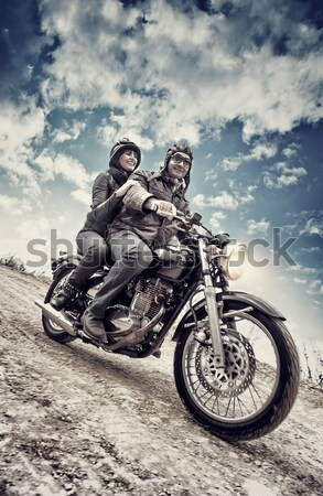 Active couple on motorcycle Stock photo © Anna_Om