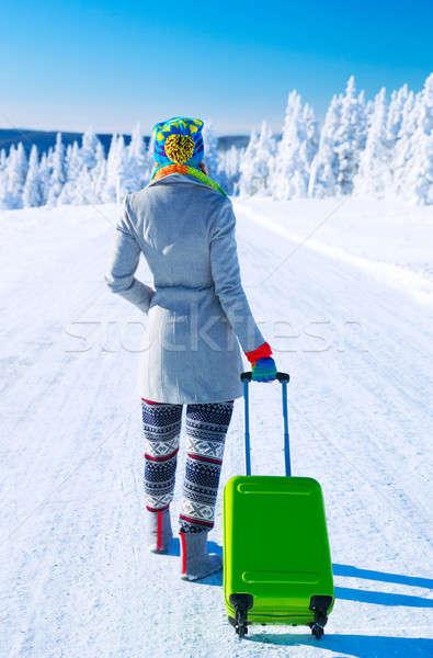 Utazó Alpok hát oldal fiatal nő sétál Stock fotó © Anna_Om