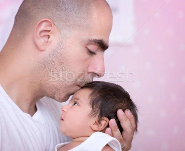 Szeretet közelkép portré apuci kislány otthon Stock fotó © Anna_Om