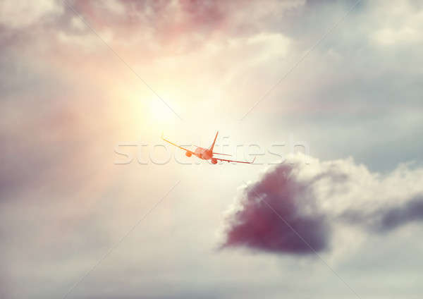 Airplane in the sky Stock photo © Anna_Om