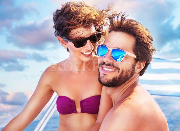 Feliz casal veleiro retrato alegre bonitinho Foto stock © Anna_Om